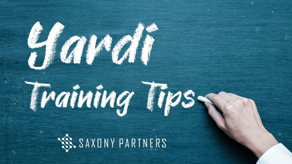 Yardi Training Tips